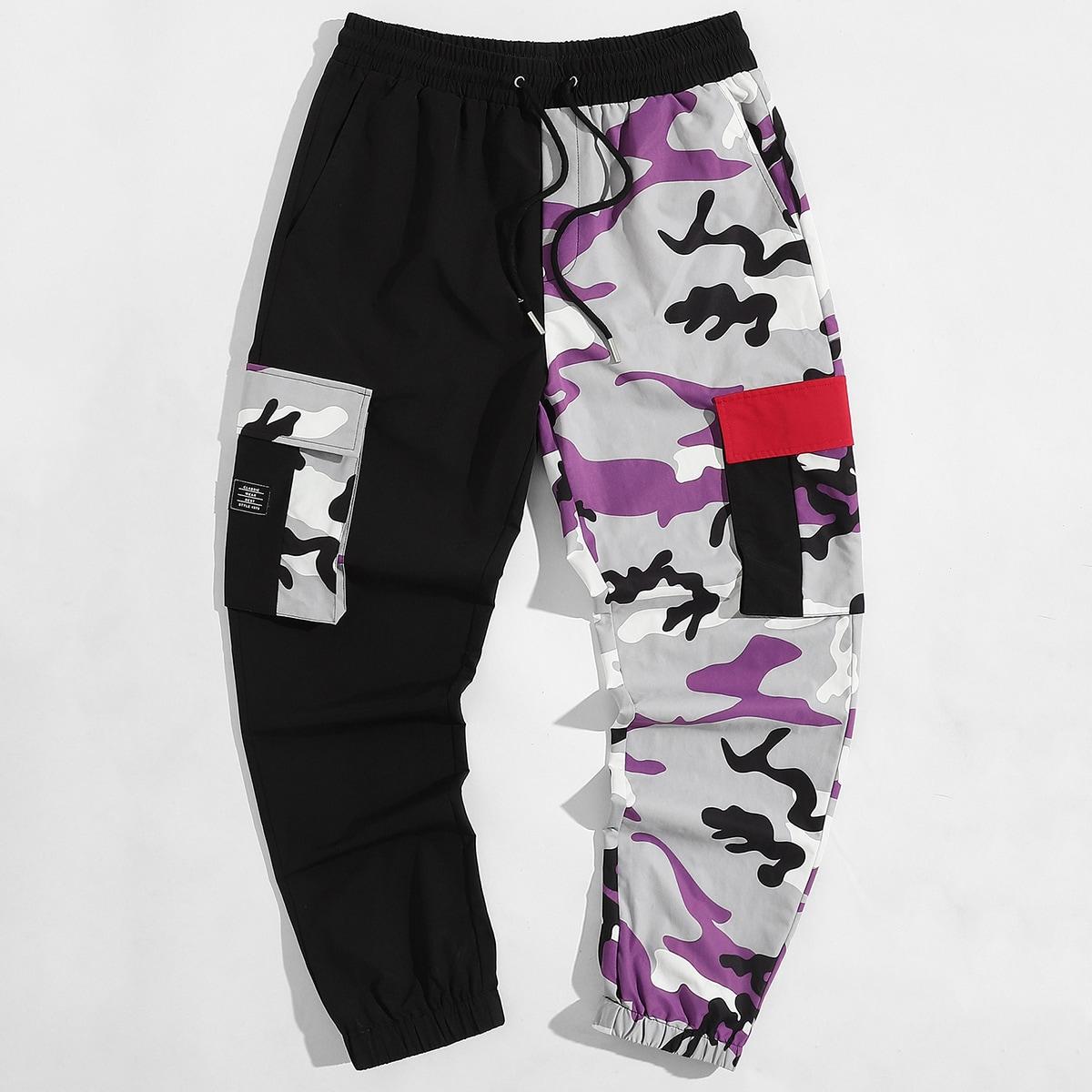 Men Flap Pocket Camo Drawstring Pants, SHEIN  - buy with discount