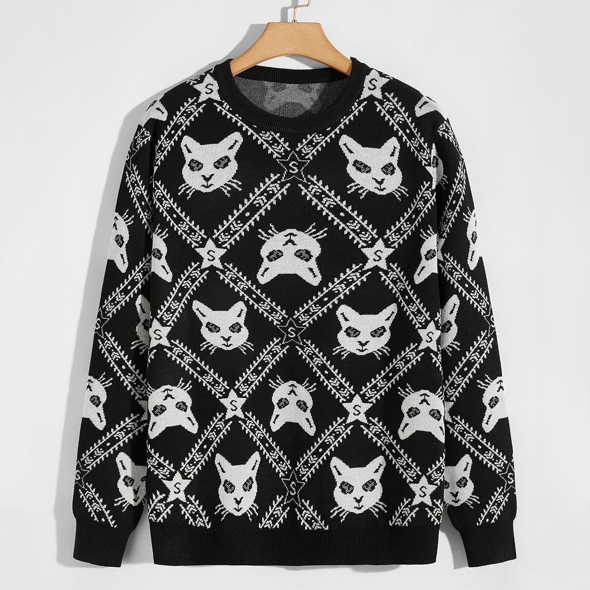 Мужской свитер с котом и геометрическим узором
