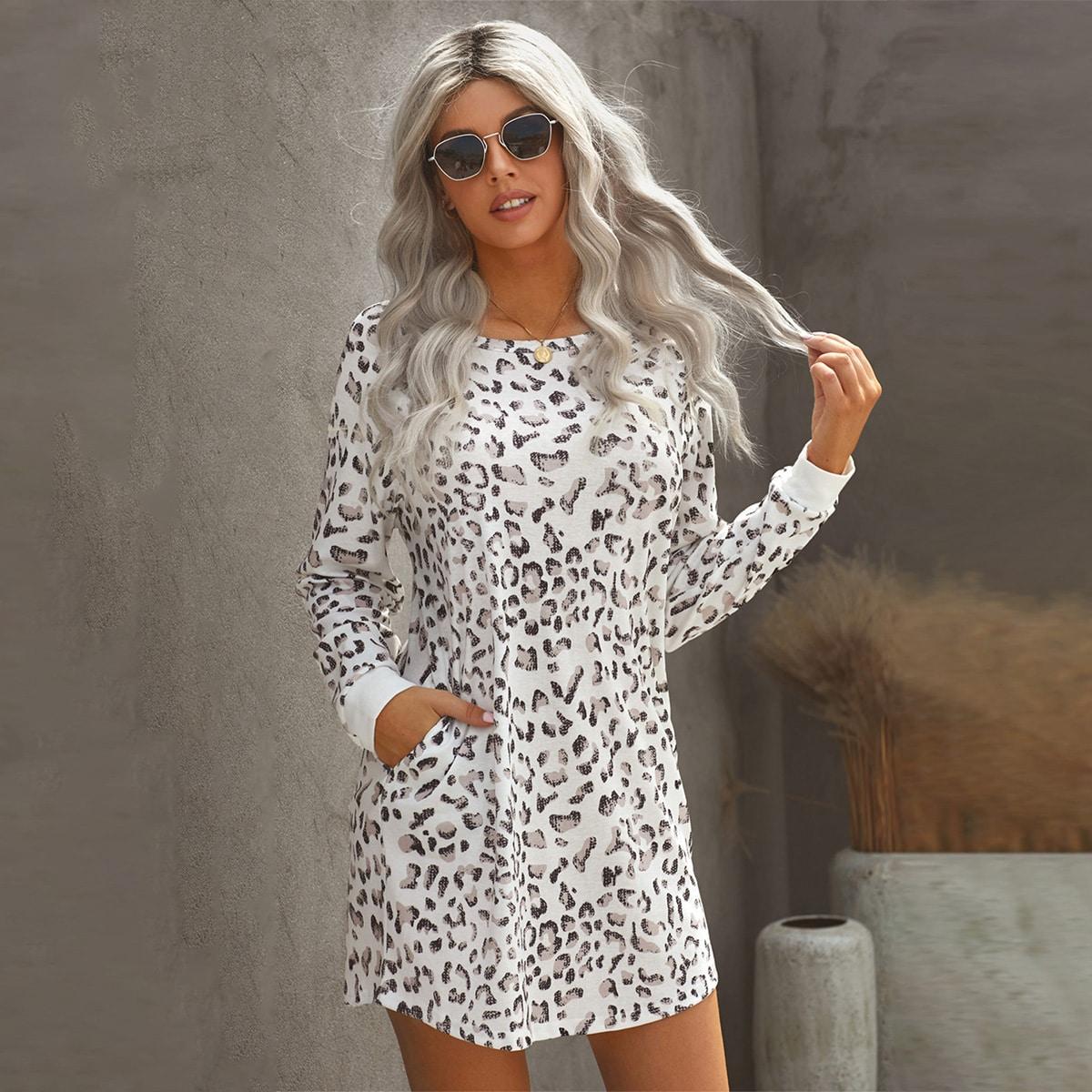 Платье-свитшот с принтом и рукавом реглан
