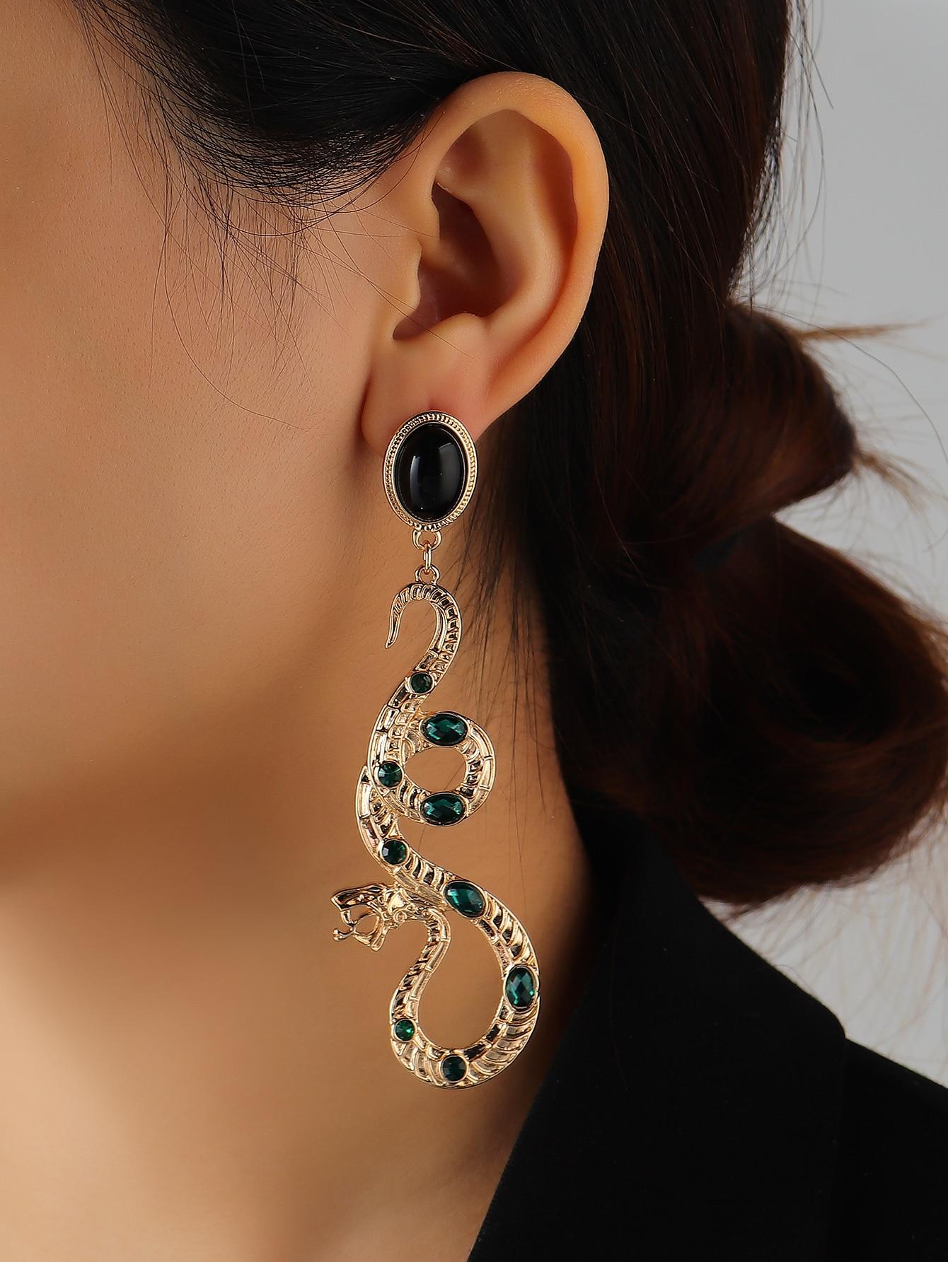 Rhinestone Decor Snake Charm Drop Earrings thumbnail
