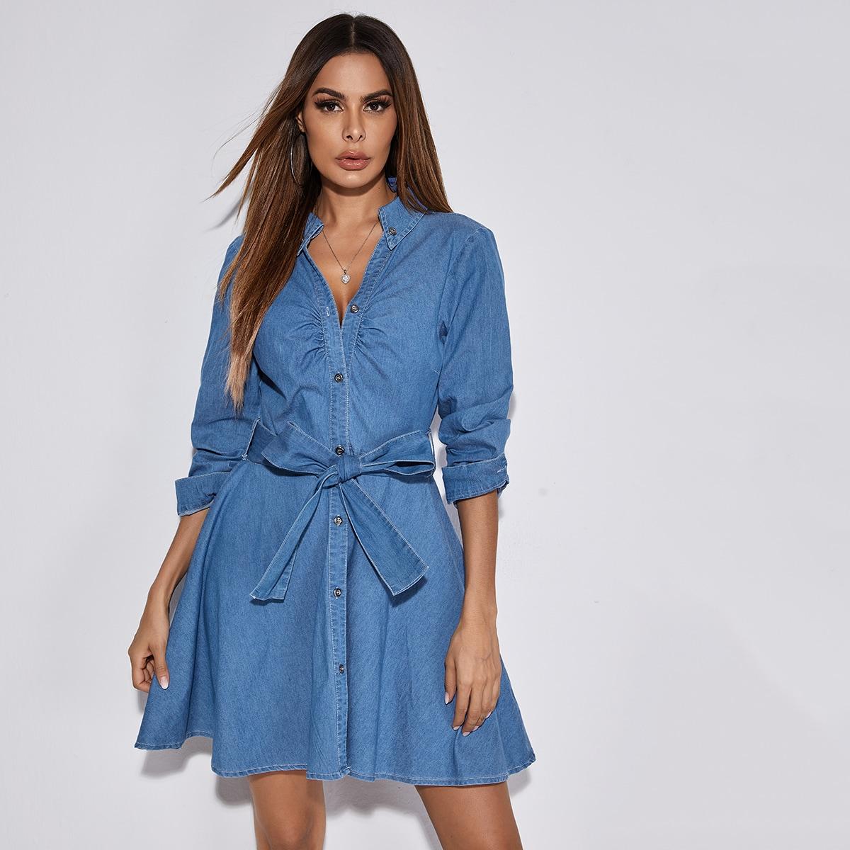 С поясом одноцветный повседневный джинсовые платья