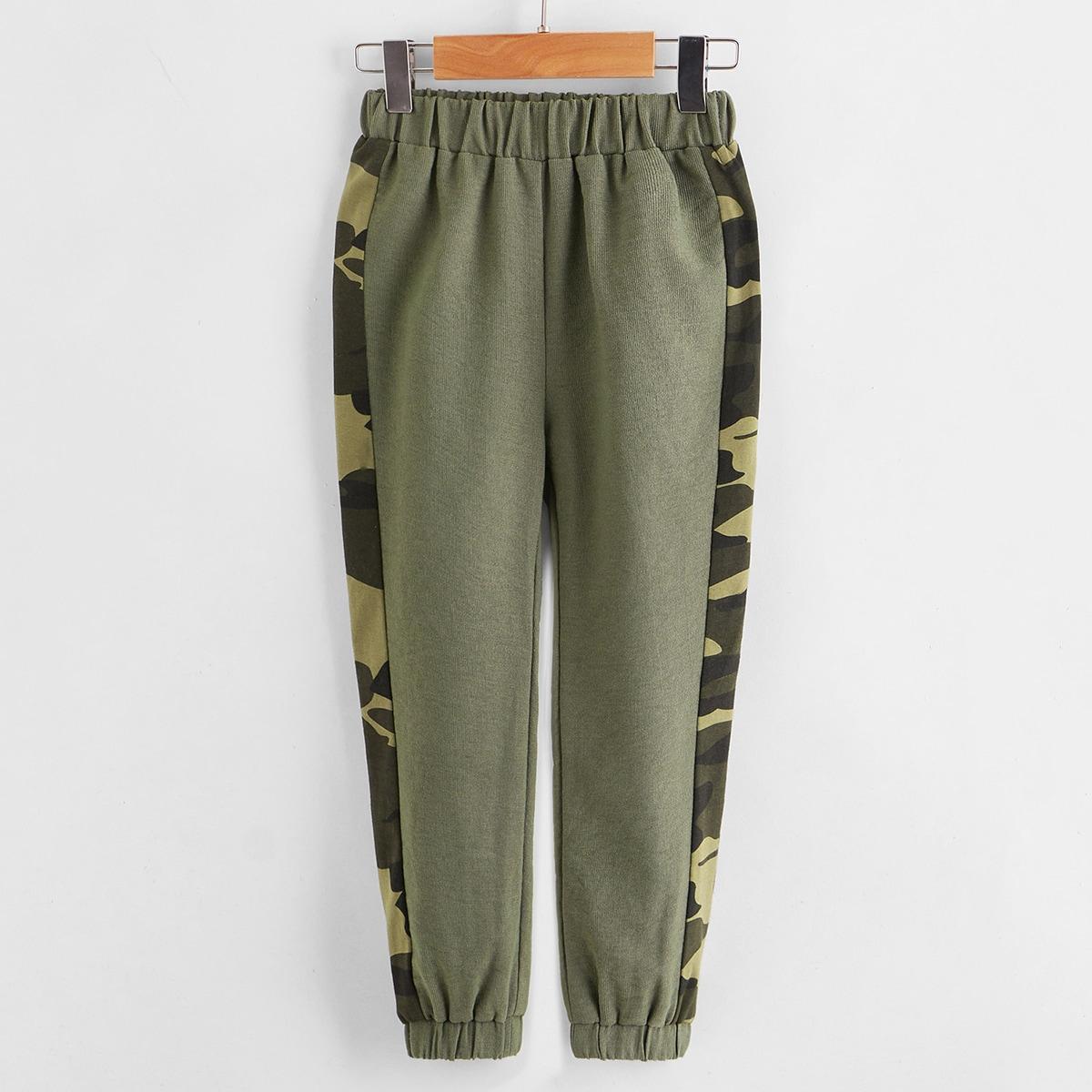 Боковая полоса камуфляж повседневный брюки для мальчиков