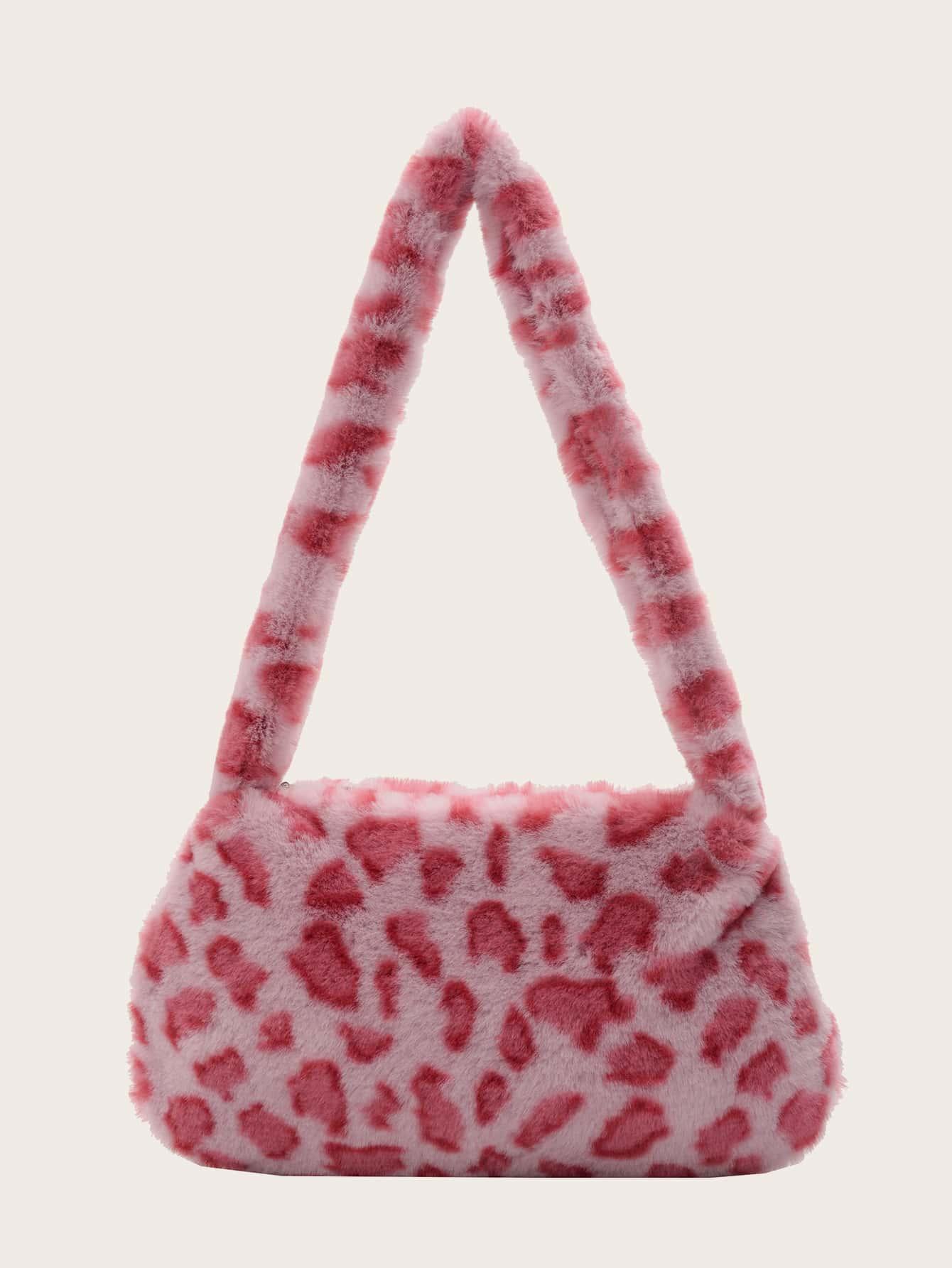 Leopard Pattern Fluffy Shoulder Bag thumbnail