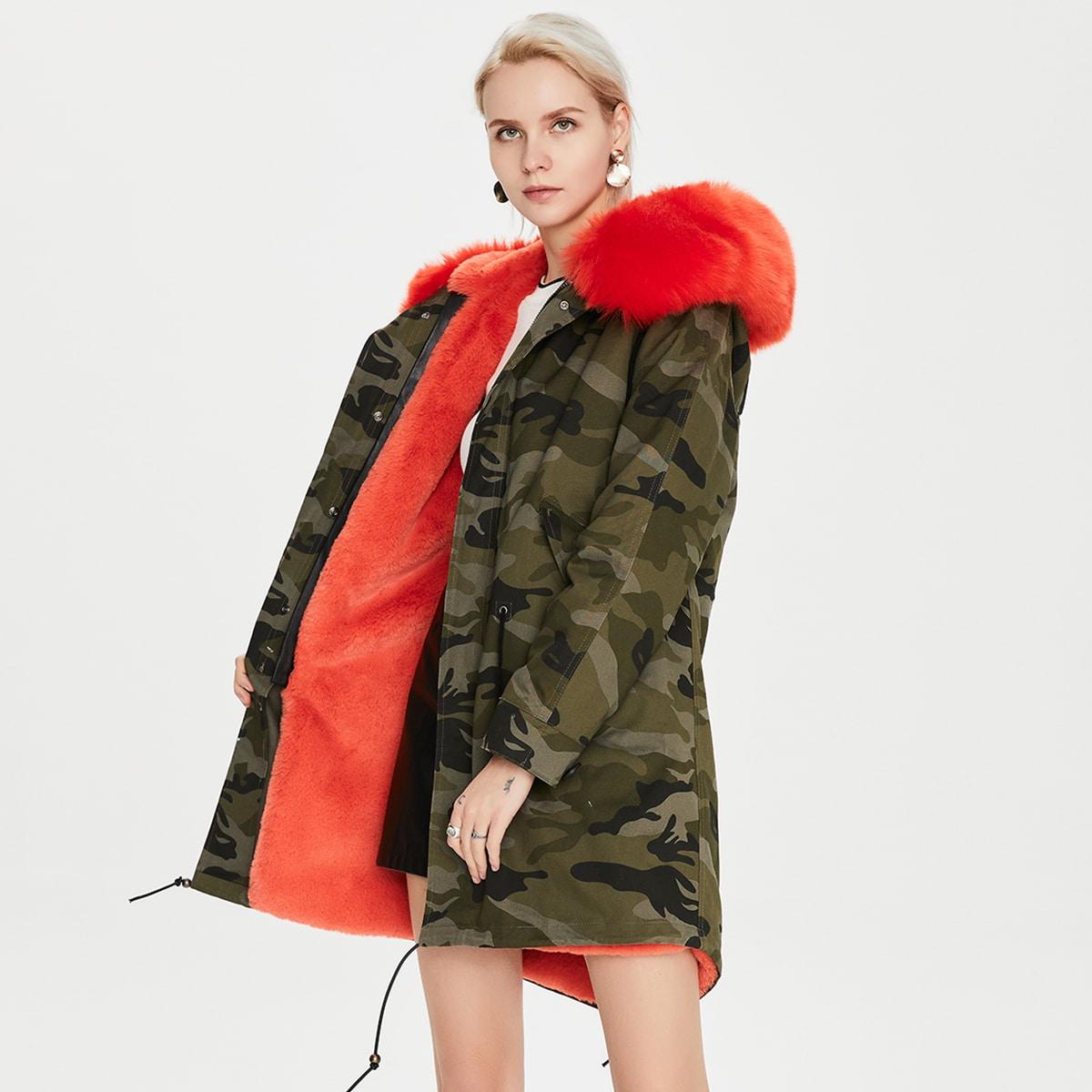 Mantel mit Kunstpelz, Camo Muster und Schnürung