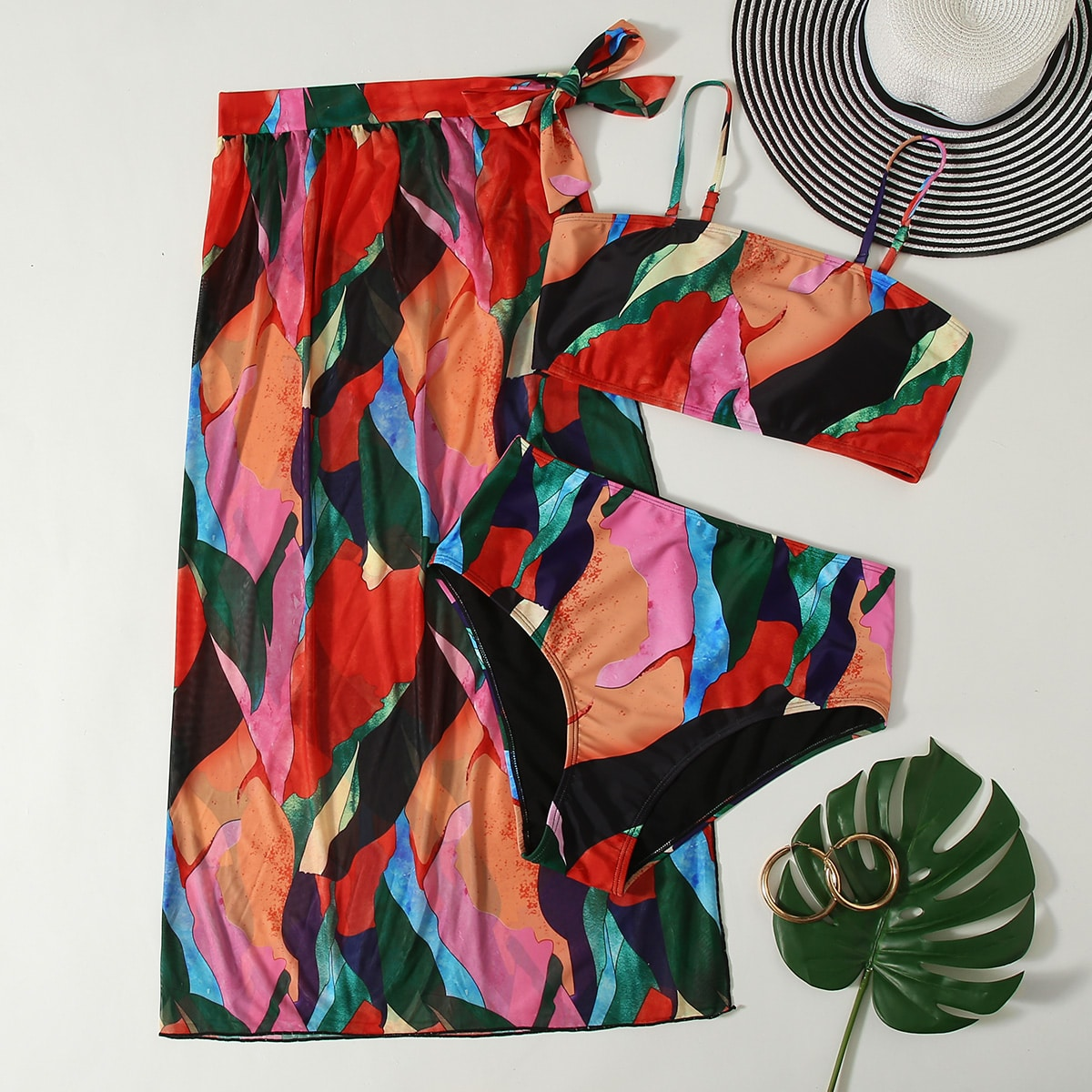 3 пакета бикини и пляжная юбка с принтом размера плюс