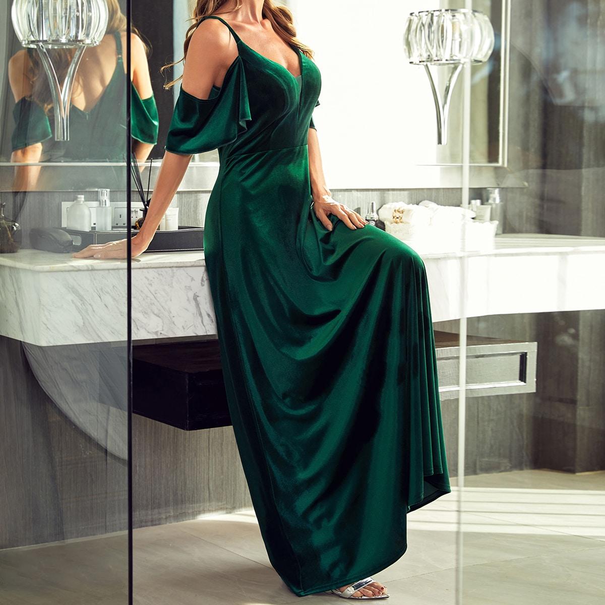 Контрастная сетка Одноцветный Элегантный Платья