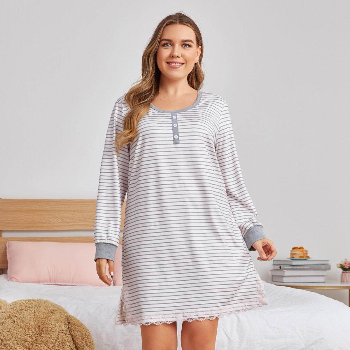 Ночная рубашка размера плюс в полоску с кружевной отделкой