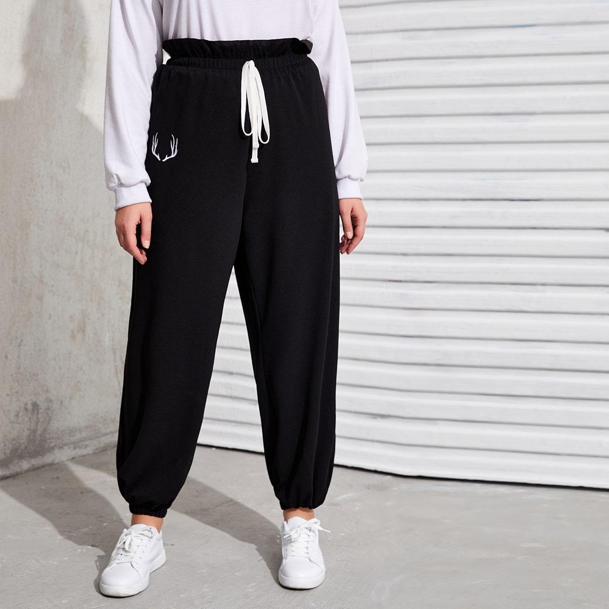 Вышивка графический принт повседневный брюки размер плюс
