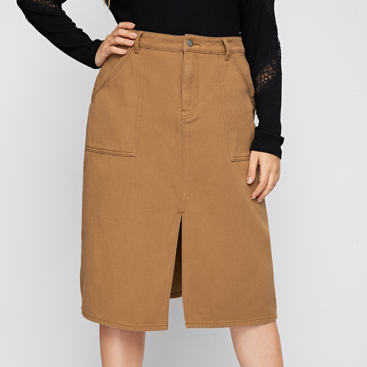На молнии одноцветный джинсовые юбки размер плюс