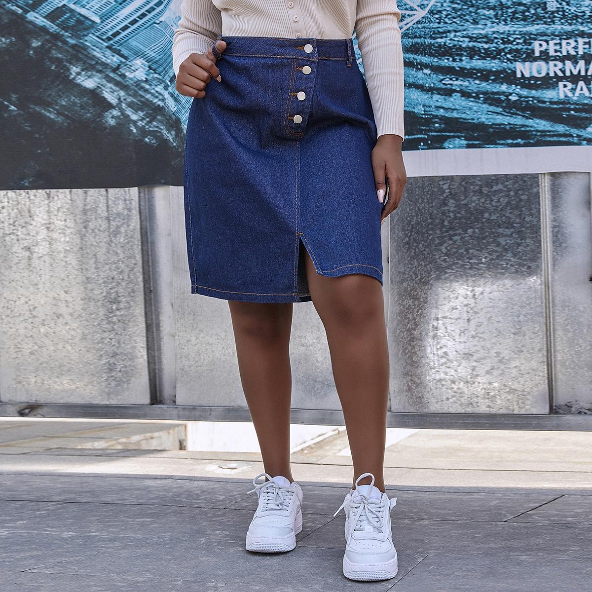 Разрез одноцветный джинсовые юбки размер плюс