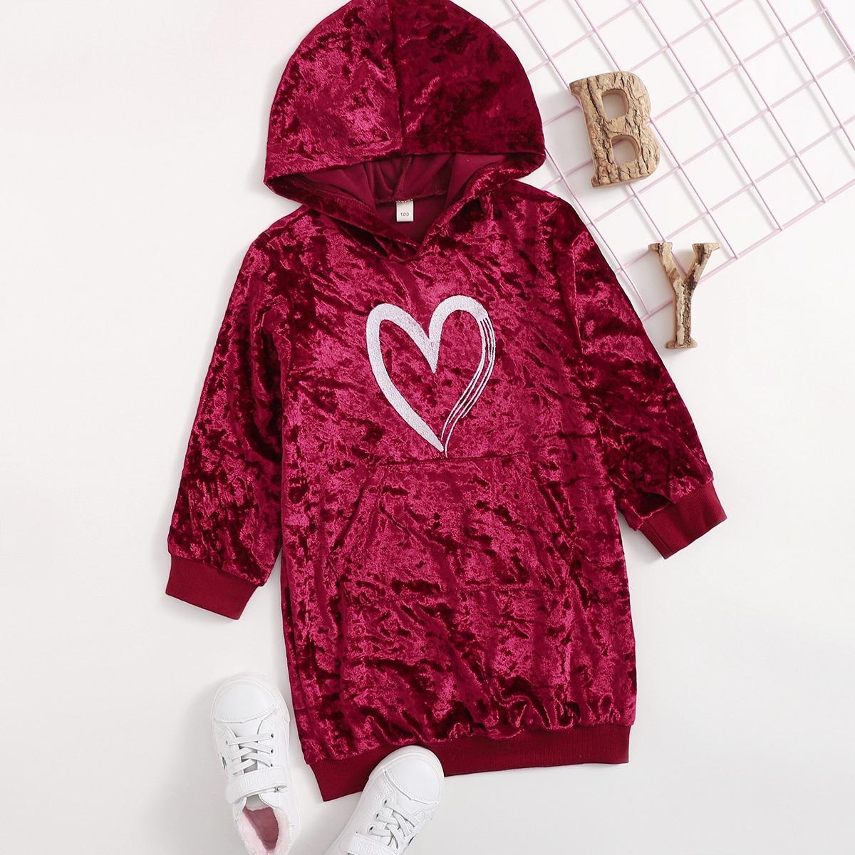 С карманами сердечко повседневный свитшоты для девочек