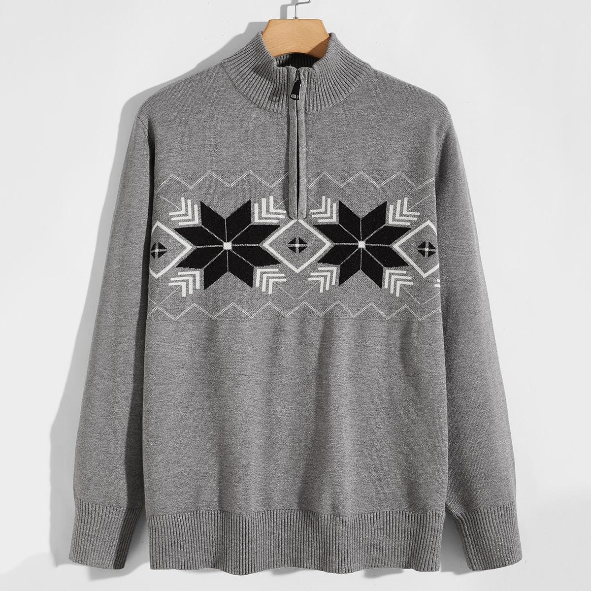 Мужской свитер на молнии с половиной планки с геометрическим рисунком