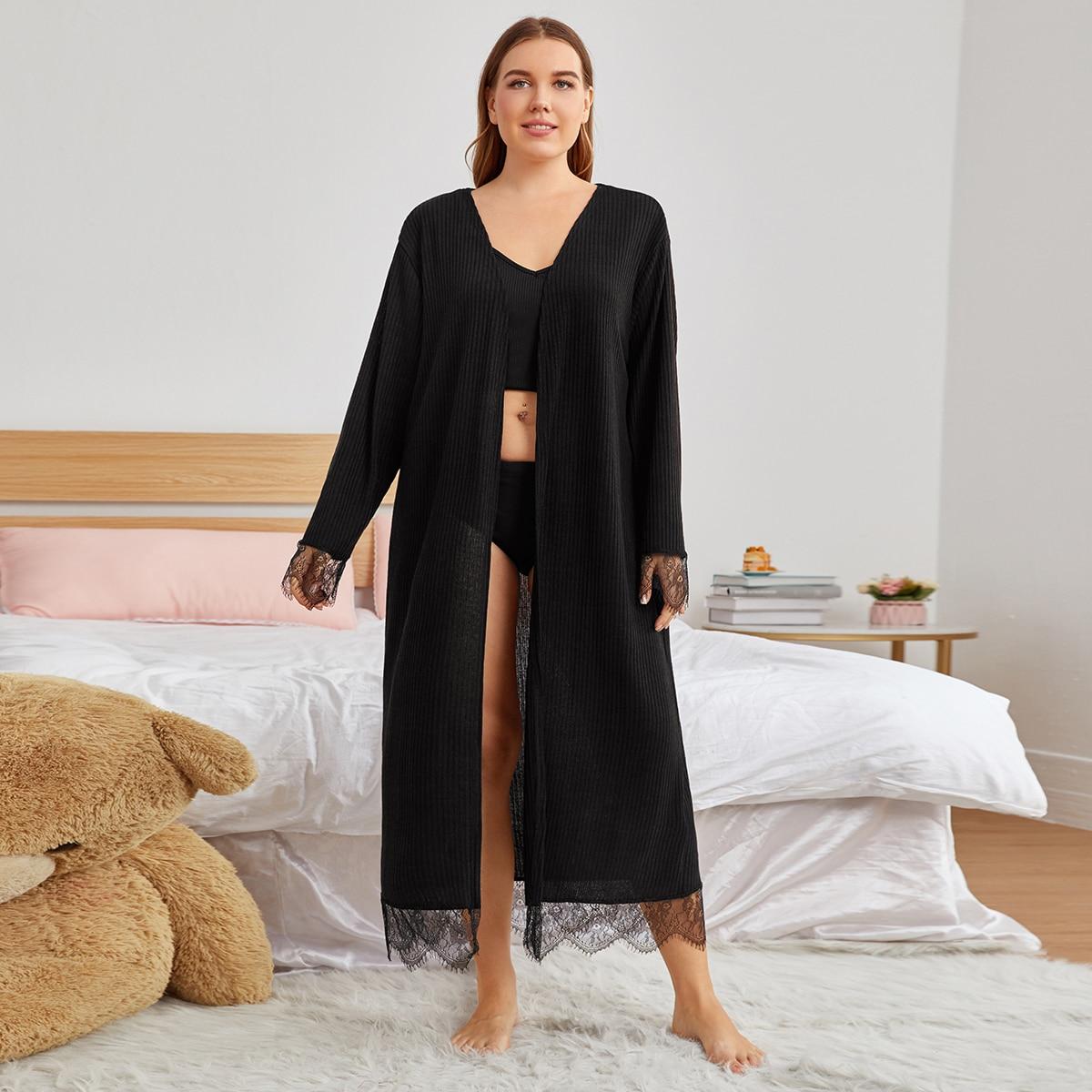 Контрастные кружева одноцветный повседневный домашний халат размера плюс