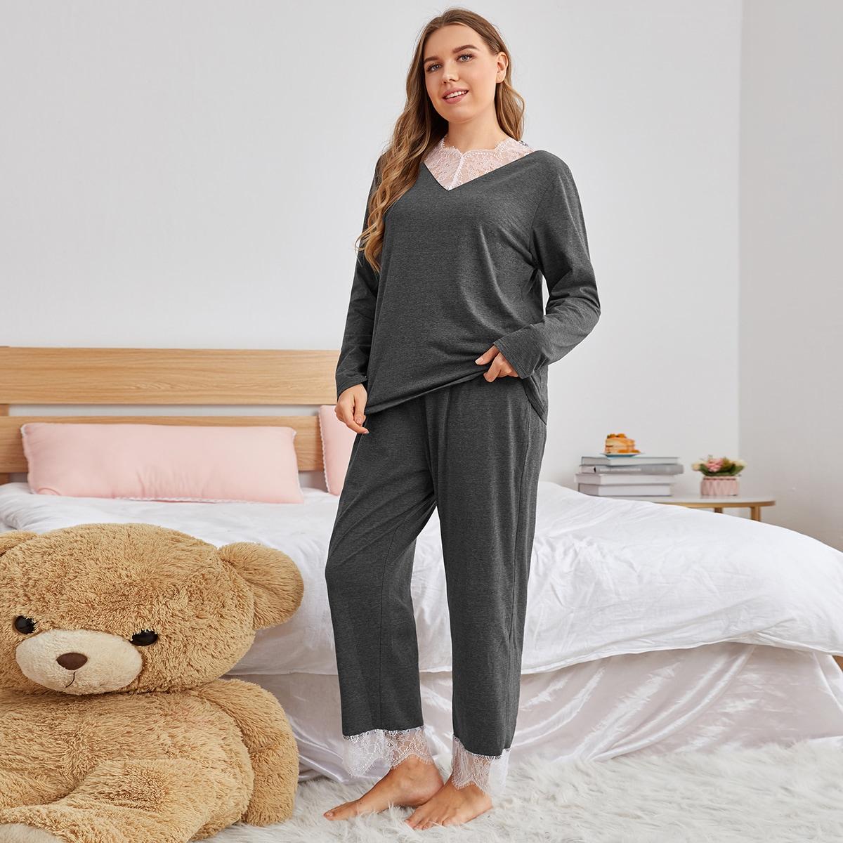Plus Contrast Lace Panel Pajama Set