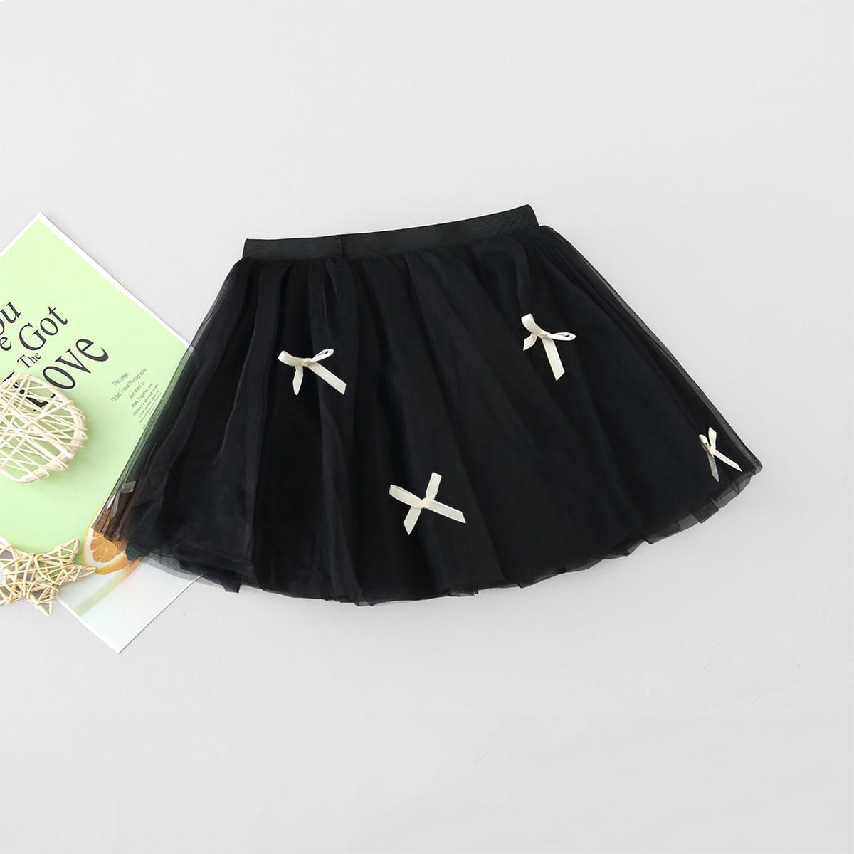 Сетчатая расклешенная юбка с бантом для девочек