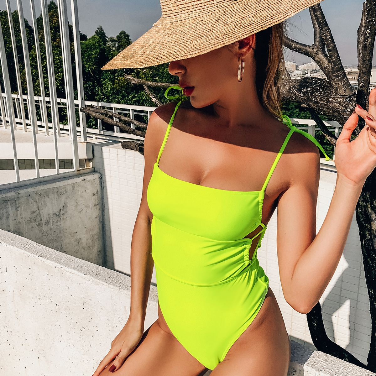 Neon Lime Tie Shoulder One Piece Swimsuit, SHEIN  - buy with discount