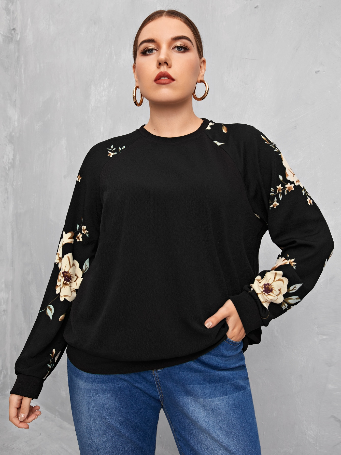 Plus Floral Print Raglan Sleeve Pullover thumbnail