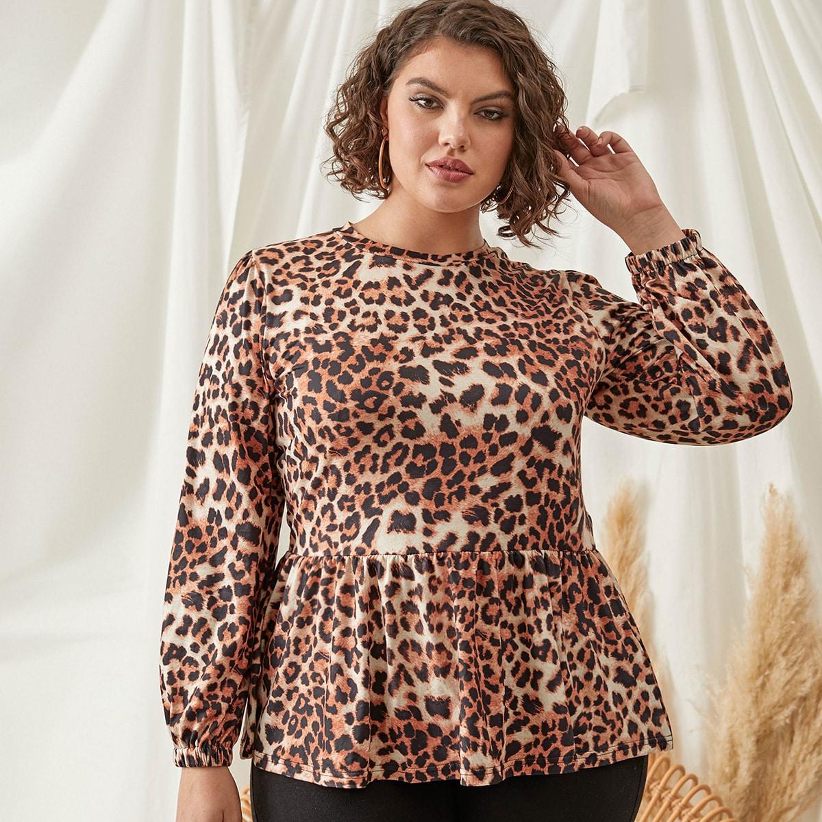 С оборками леопард повседневный футболка размера плюс