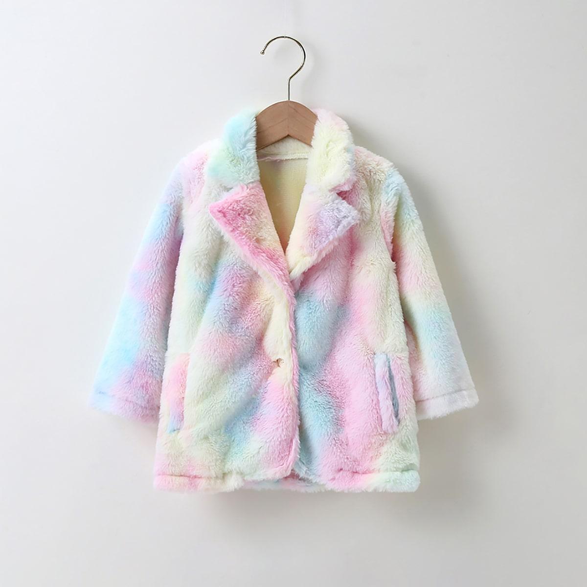 Плюшевое пальто с принтом тай дай для девочек