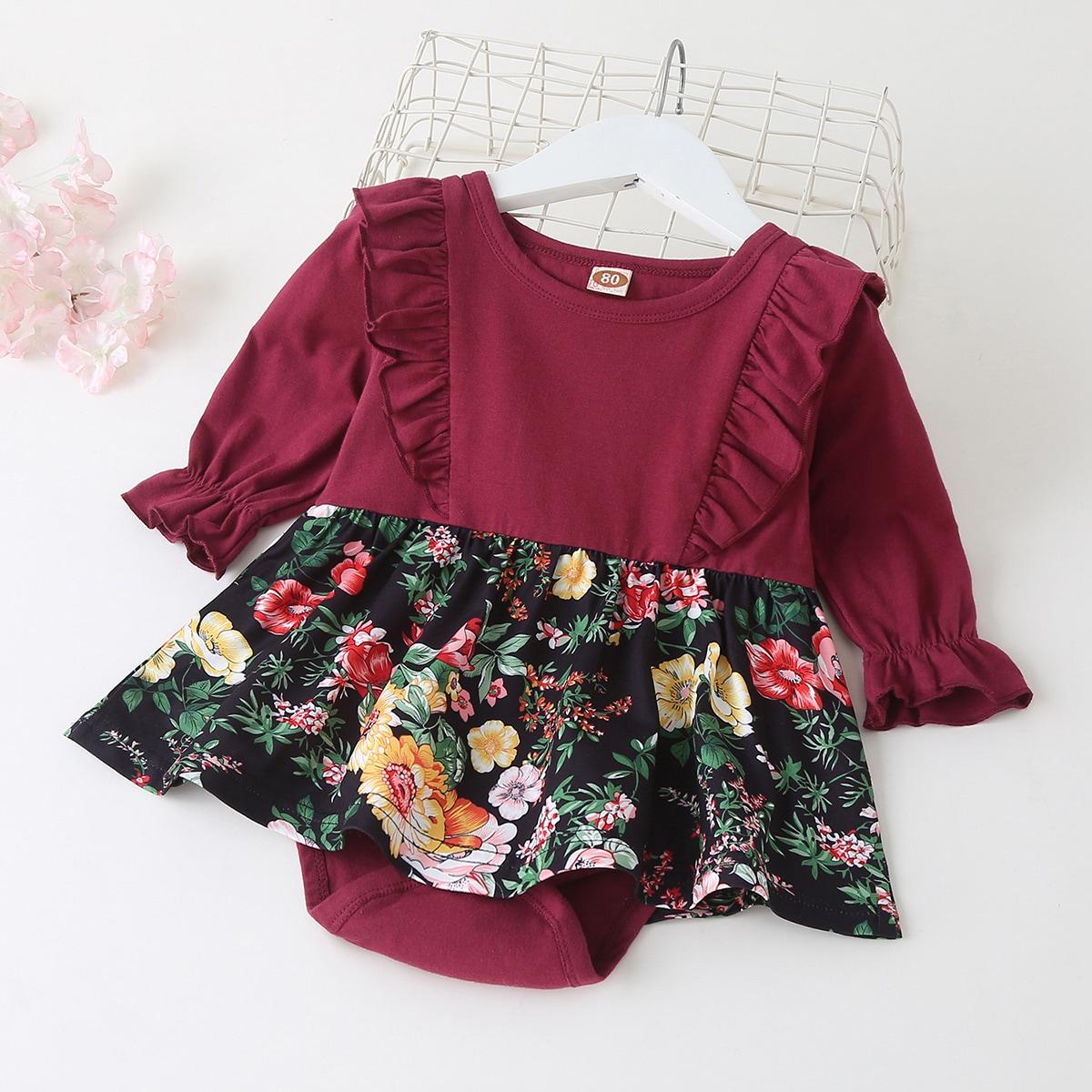 Платье с оборкой и цветочным принтом для девочек