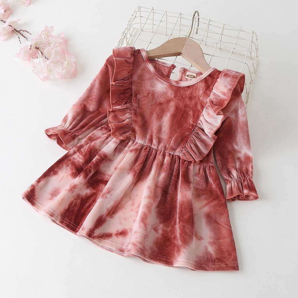 С оборками тай дай милый платья для малышей