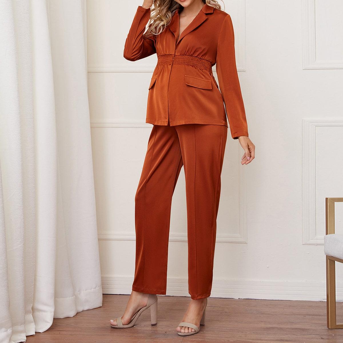 Атласная блуза и брюки для беременных