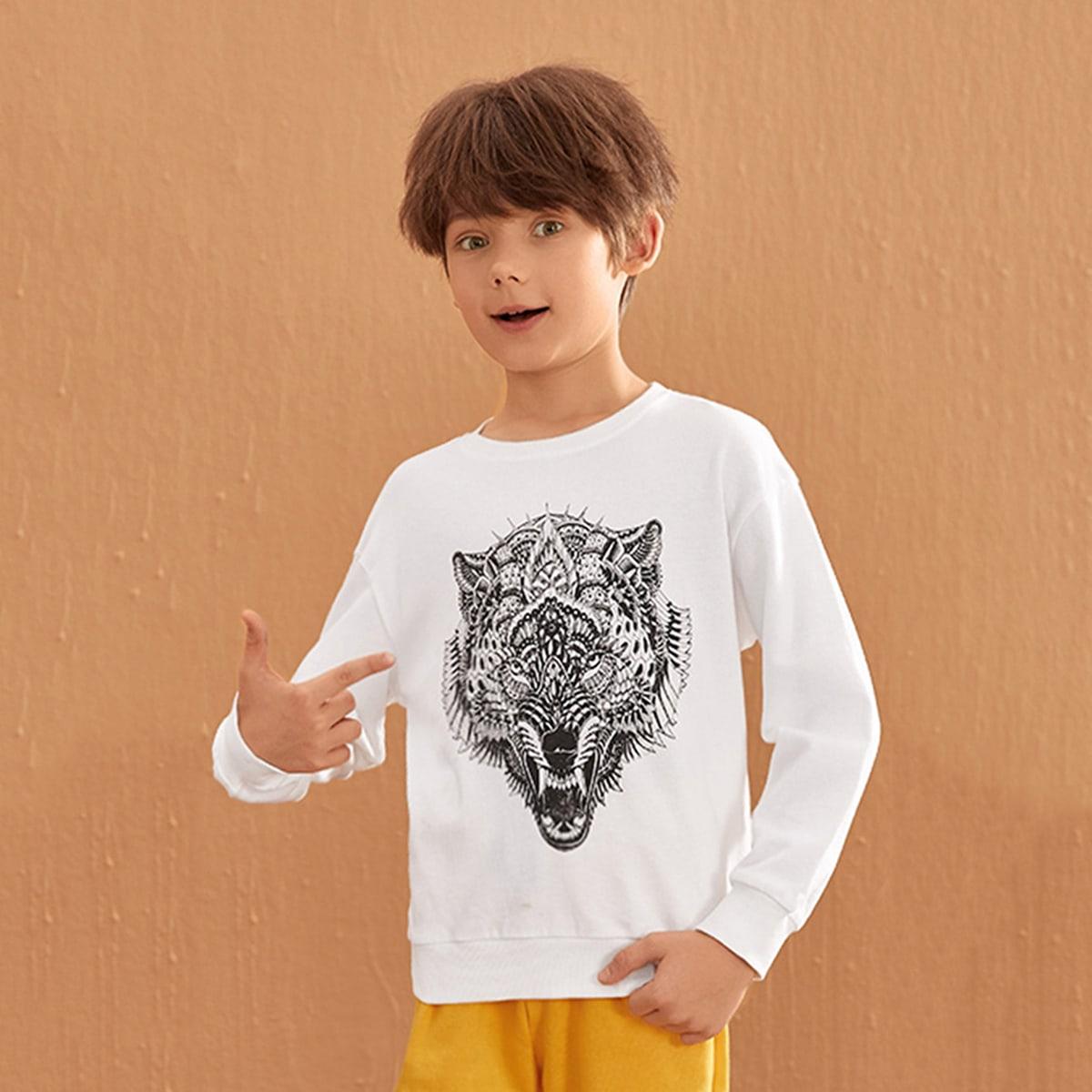 Пуловер с животным принтом для мальчиков