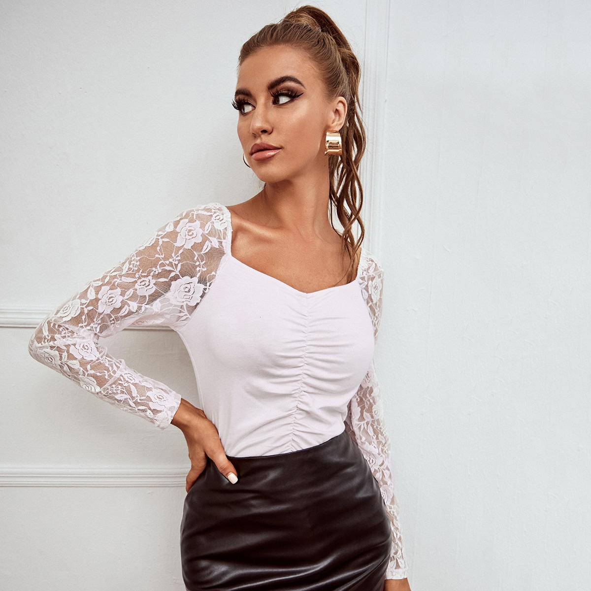 Sweetheart Neck Contrast Lace Sleeve Top