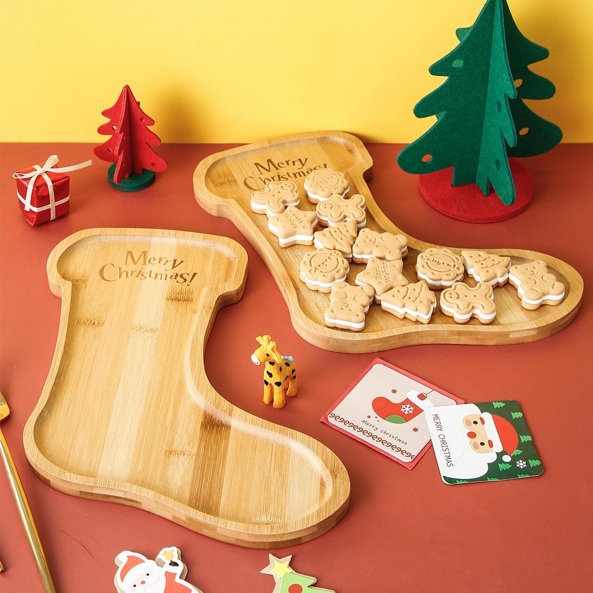 1шт деревянный поднос в форме рождественского носка