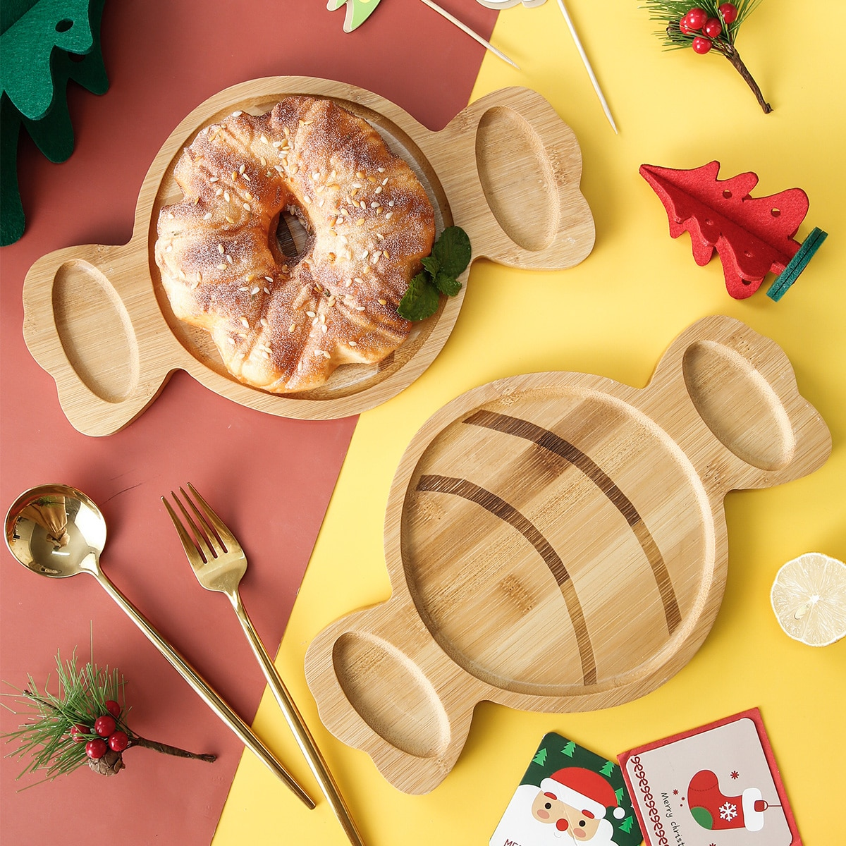 1шт Рождество деревянный поднос в форме конфет