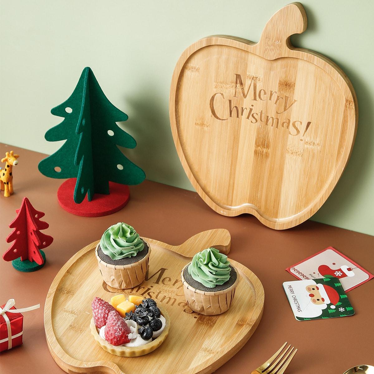 1шт Рождество деревянный поднос в форме яблока
