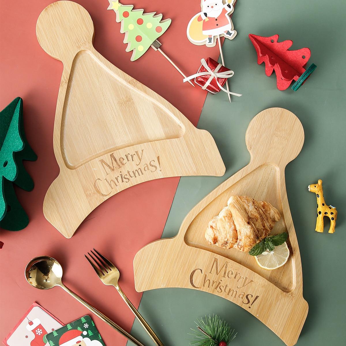 1шт деревянный поднос в форме рождественской шапки