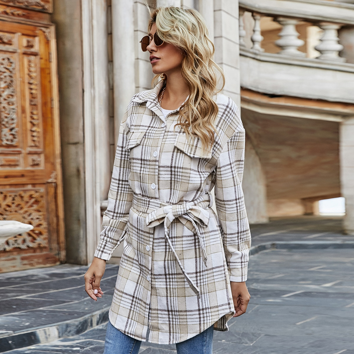 Plaid Print Curved Hem Button Front Belted Overcoat