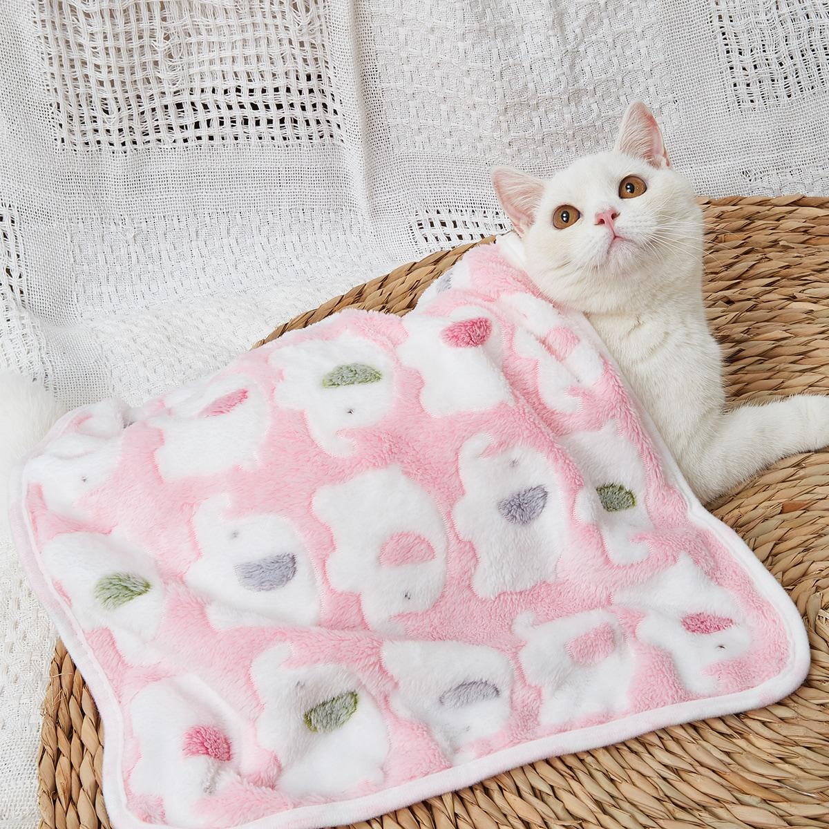 1 Stück Plüsch Decke mit Elefant Muster für Katze
