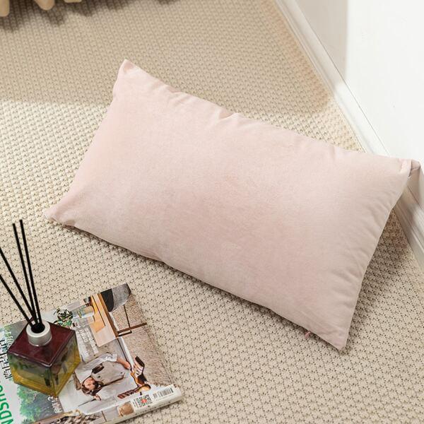 Plain Lumbar Pillow Cover Without Filler, Baby pink