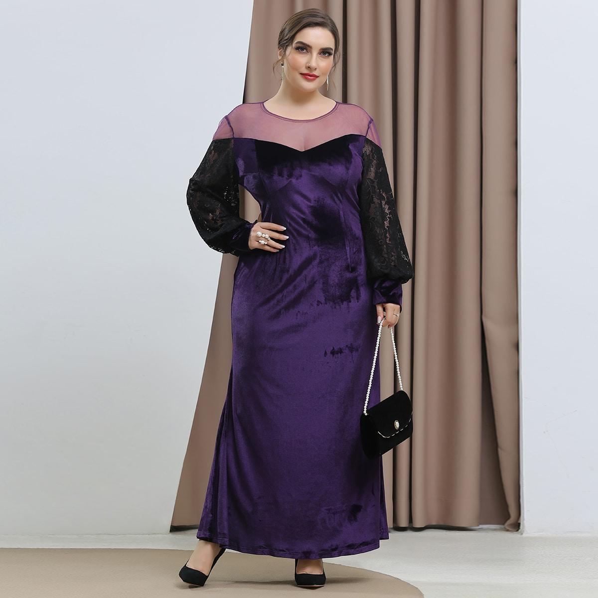 Бархатное платье размера плюс с сетчатой вставкой