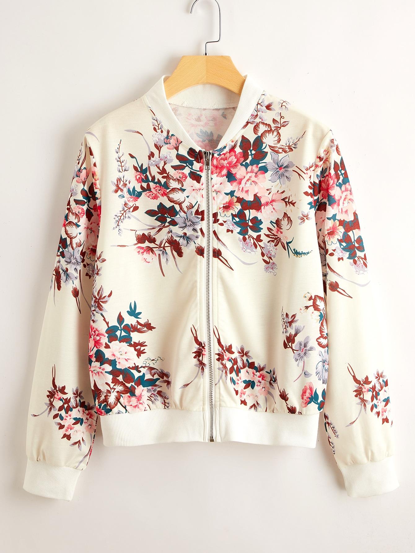 floral print zip-up bomber jacket