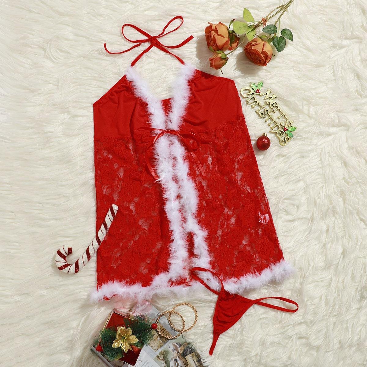 Рождество кружевное платье и стринги размера плюс с искусственным мехом
