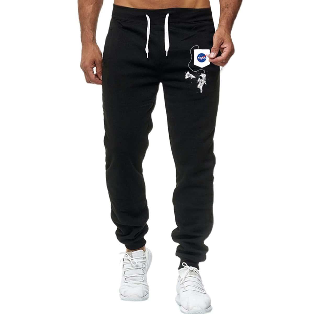 Мужские спортивные брюки на кулиске с текстовым принтом