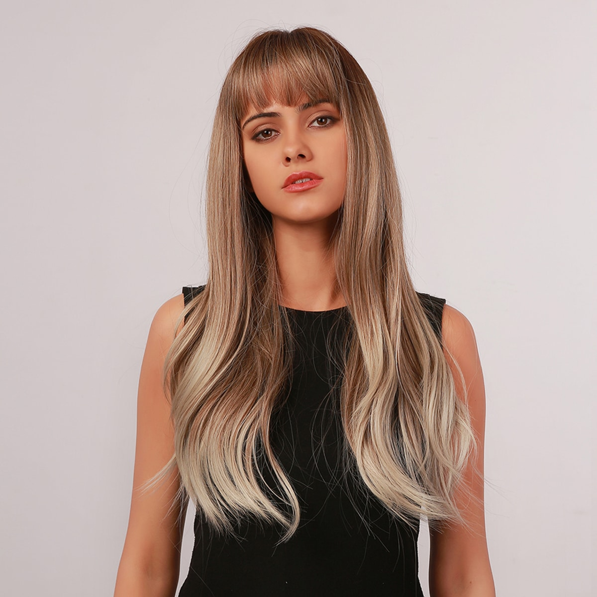 Natural Ombre Long Wig With Bangs