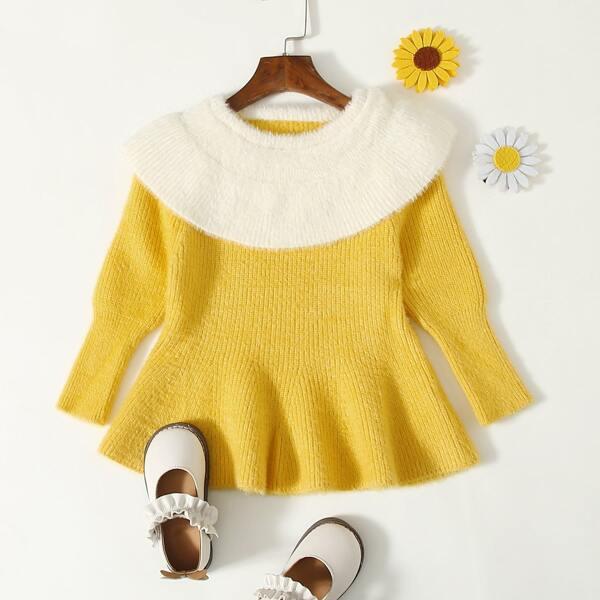 Toddler Girls Contrast Collar Ruffle Hem Sweater, Yellow