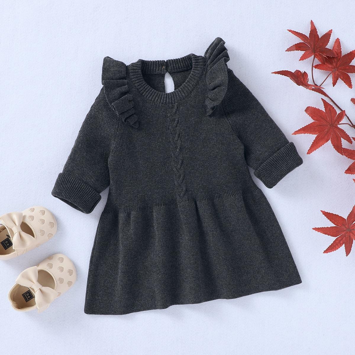 Платье-свитер с оборкой для девочек