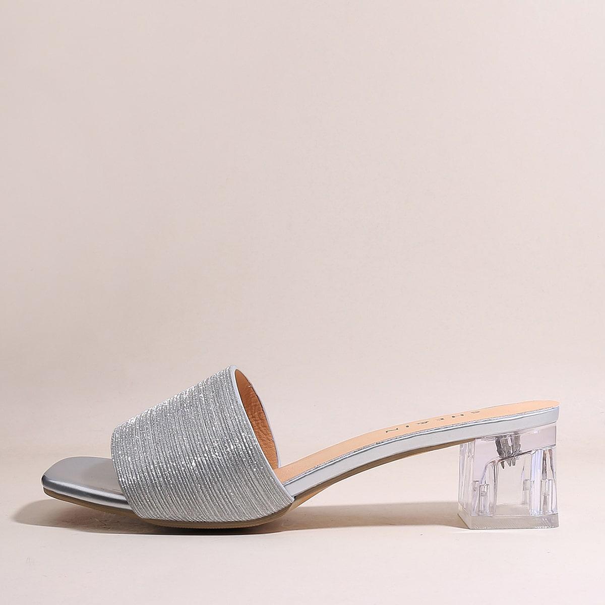 Блестящие мюли на массивном каблуке