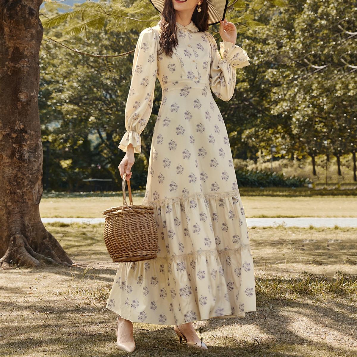 Платье-рубашка с принтом и кружевной отделкой