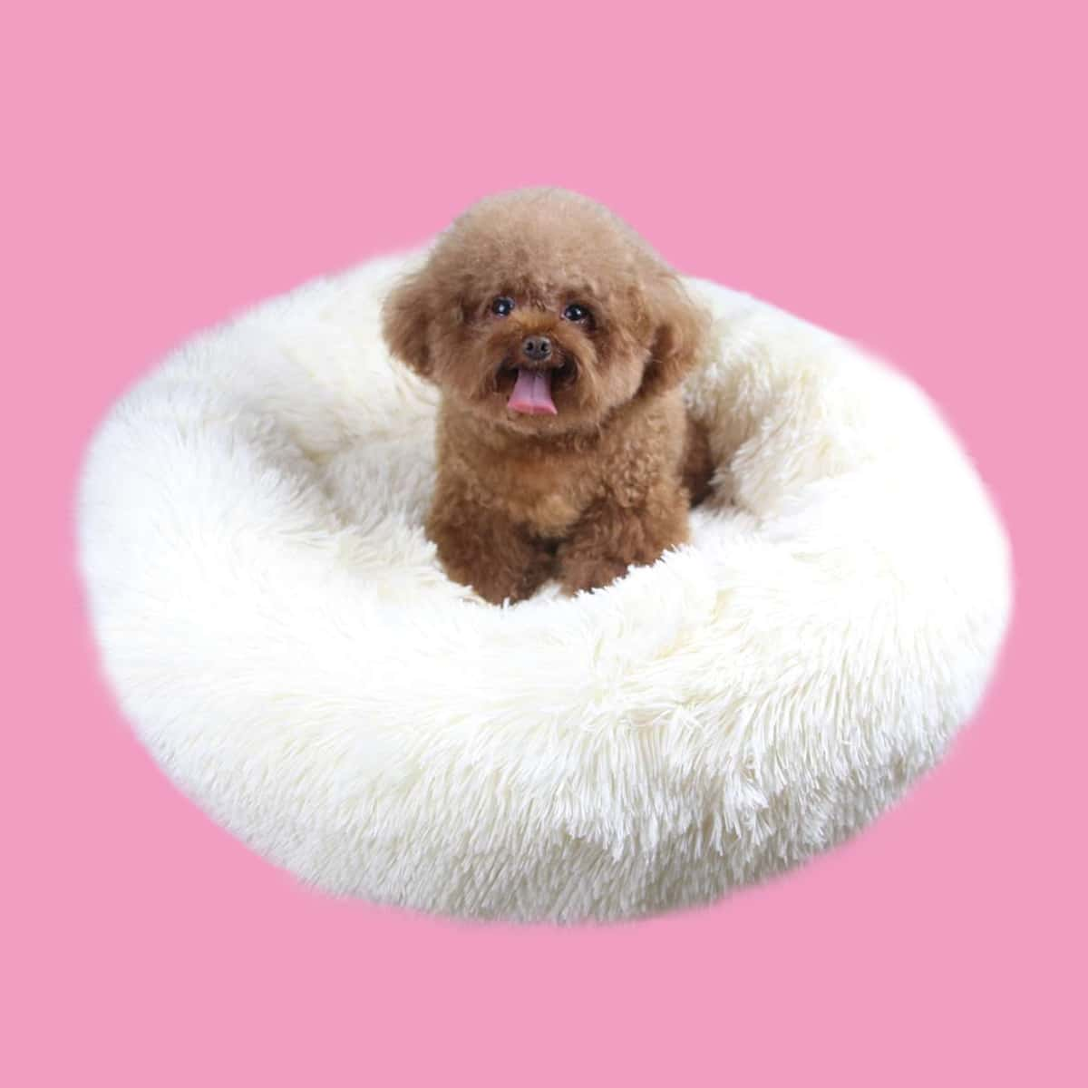 Round Plush Solid Dog Bed