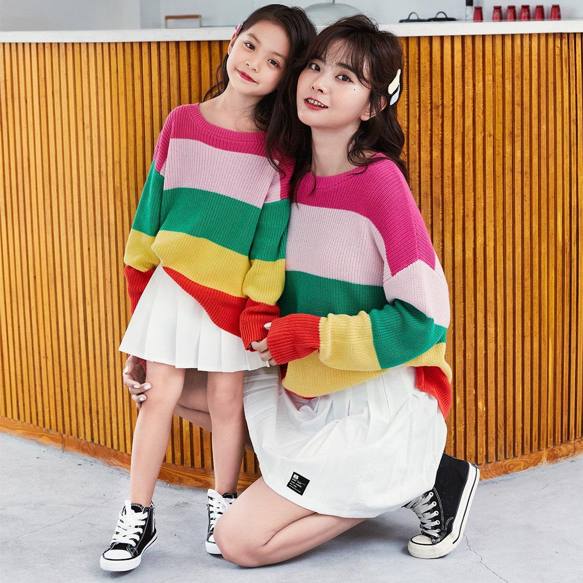 Разрез контрастный цвет повседневный свитера для девочек
