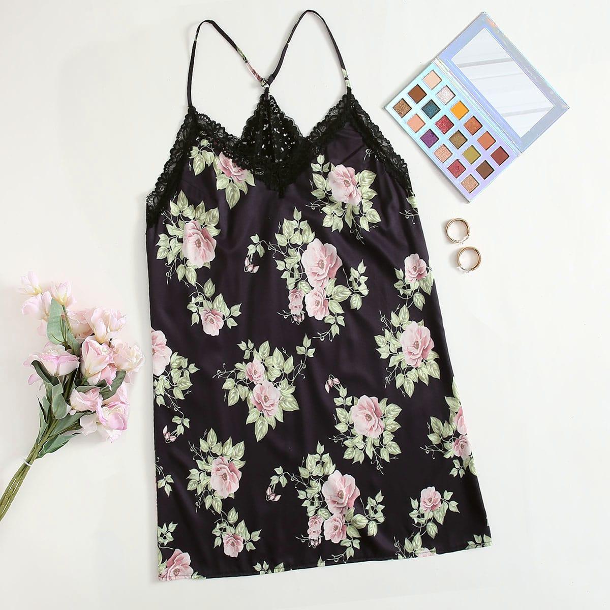 Полная версия большого размера с цветочной вышивкой и кружевной ночной рубашкой на подтяжках от SHEIN