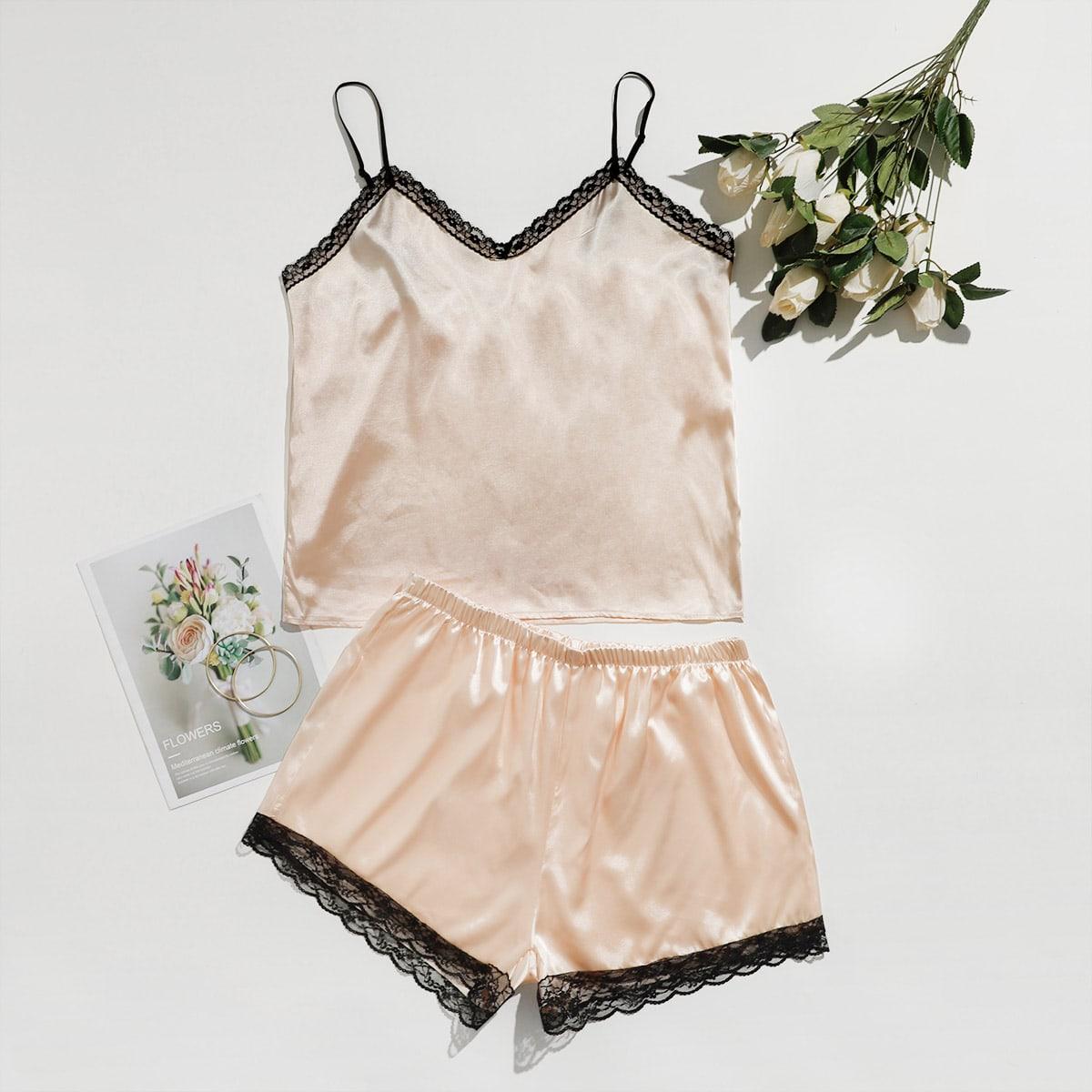 Контрастные кружева Контрастный цвет Элегантный Пижама размер плюс