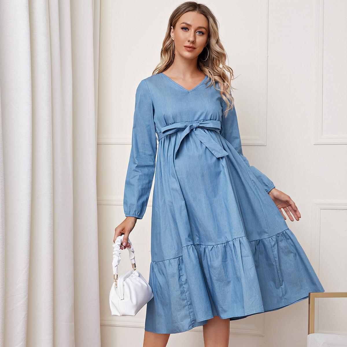 Джинсовое платье с поясом и рукавами фонариками для беременных