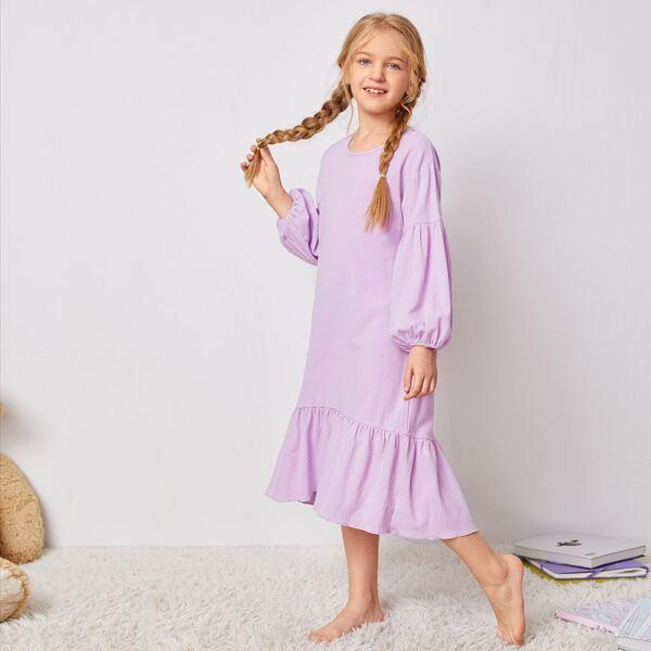 Girls Solid Ruffle Hem Night Dress, Lilac purple
